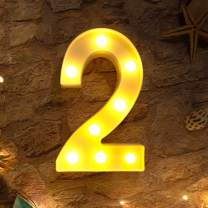Brightown Decorative LED Marquee Light Up Number Letters Sign Night Light Party Wedding Birthday Party Christmas Lamp Home Bar Decor Battery Operated (2)