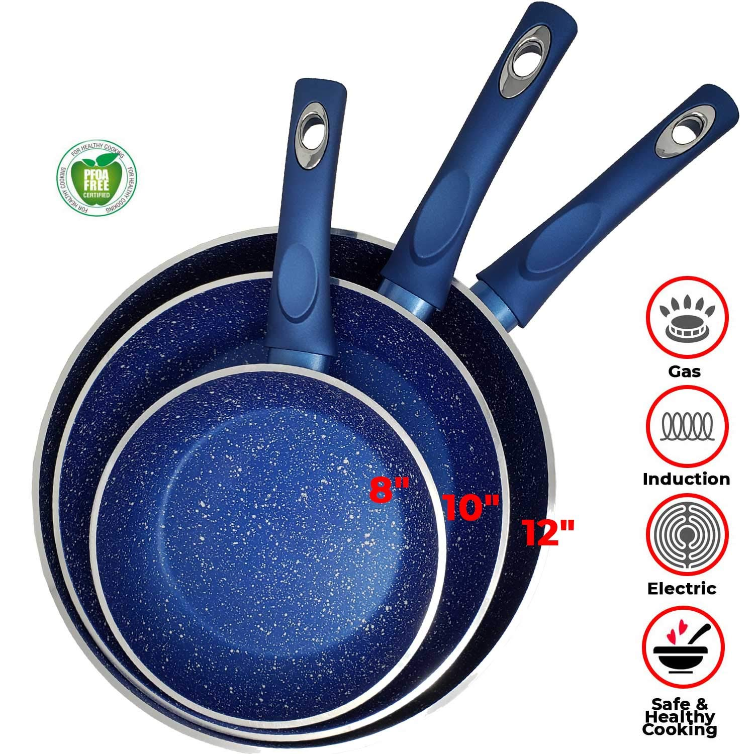 "Non Stick Blue Marble Stone Forged Aluminum Pan Set Granite 4.5mm 6 Layers Non Stick Thickness Induction Bottom & Cool Touch Handle Dishwasher Safe PFOA,PTFE (3pc Set of 12"",10"",8"" Pans)"