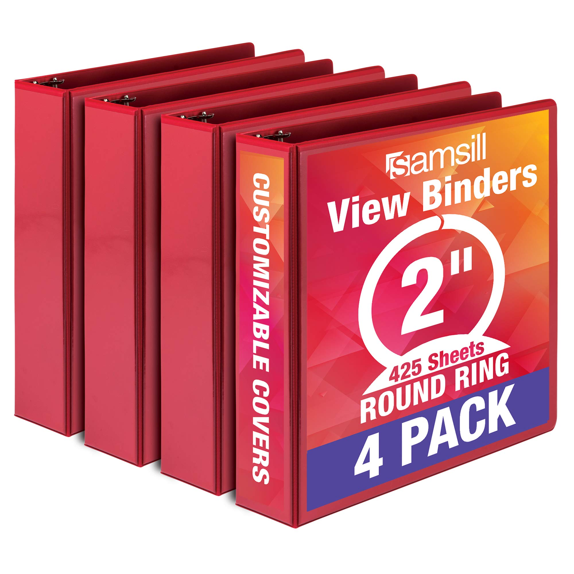 Samsill Economy 3 Ring Binder Organizer, 2 Inch Round Ring Binder, Customizable Clear View Cover, Red Bulk Binder 4 Pack