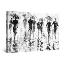 """Startonight Canvas Wall Art Black and White Abstract Rainy Weather, Framed Quantic Home Decor for Living Room 32"""" x 48"""""""