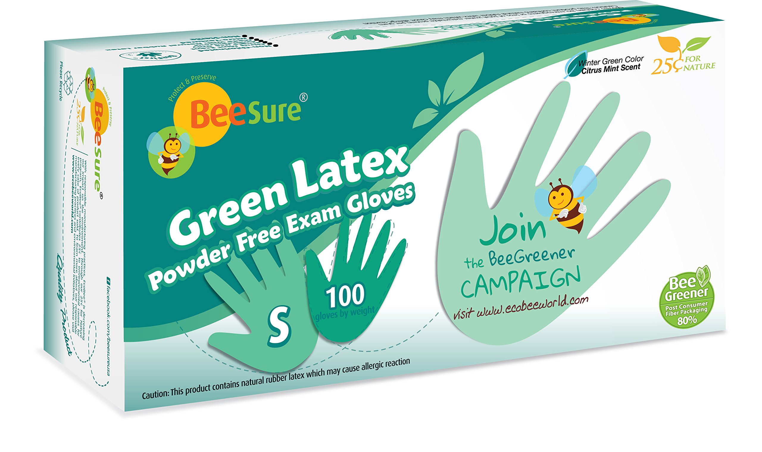 BeeSure BE2836 Green Latex Powder Free Exam Gloves, Small (Pack of 100)