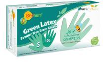 BeeSure BE2836 Green Latex Powder Free Exam Gloves, Small (Pack of 100)