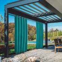 TWOPAGES 120W x 96L Extra Wide Turquoise Curtain with Grommet on Top and Bottom, Water and Wind Resistant Light Reducing Thermal Insulated Patio Privacy Curtain, 1 Panel