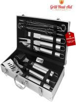 Stainless Steel BBQ Smoker Accessories - (Premium 12 Pc Set) - Sturdy, Well Weighted Precision Barbecue Grill Tool Set w/XL Burn & Rust Proof Design Construction - Looks Sharp, Makes The Best Gift