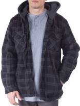 Visive Mens Heavy Flannel Shirt Jacket for Mens Big and Tall Zip Up Fleece W/Hood Size M - 5XL