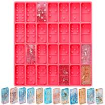 Domino Mold for Epoxy Domino Mold for Resin Candy Molds Clay Mold Dominoes Chocolate Molds 28 Cavities Silicone Mold for Pendant Epoxy Molds Cake Jewelry Making ToolPatelai (Pink)