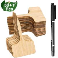 Whaline 50Pcs Bamboo Plant Labels with A Marker Pen, T-Type Wooden Plant Sign Tags Garden Markers for Seed Potted Herbs Flowers Vegetables(6 x 10 cm)