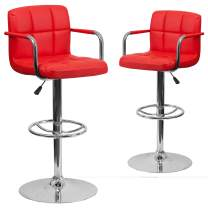 Flash Furniture 2 Pk. Contemporary Red Quilted Vinyl Adjustable Height Barstool with Arms and Chrome Base