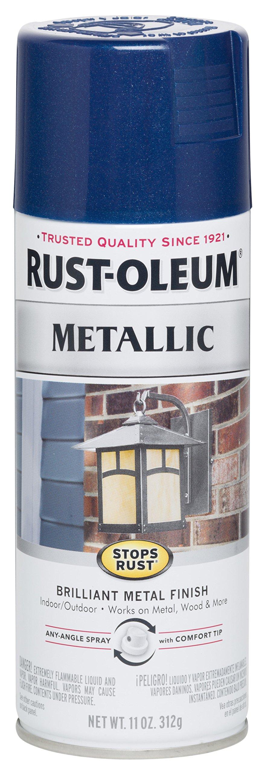 Rust-Oleum 7251830 Stops Rust Metallic Spray Paint, 11 oz, Cobalt Blue