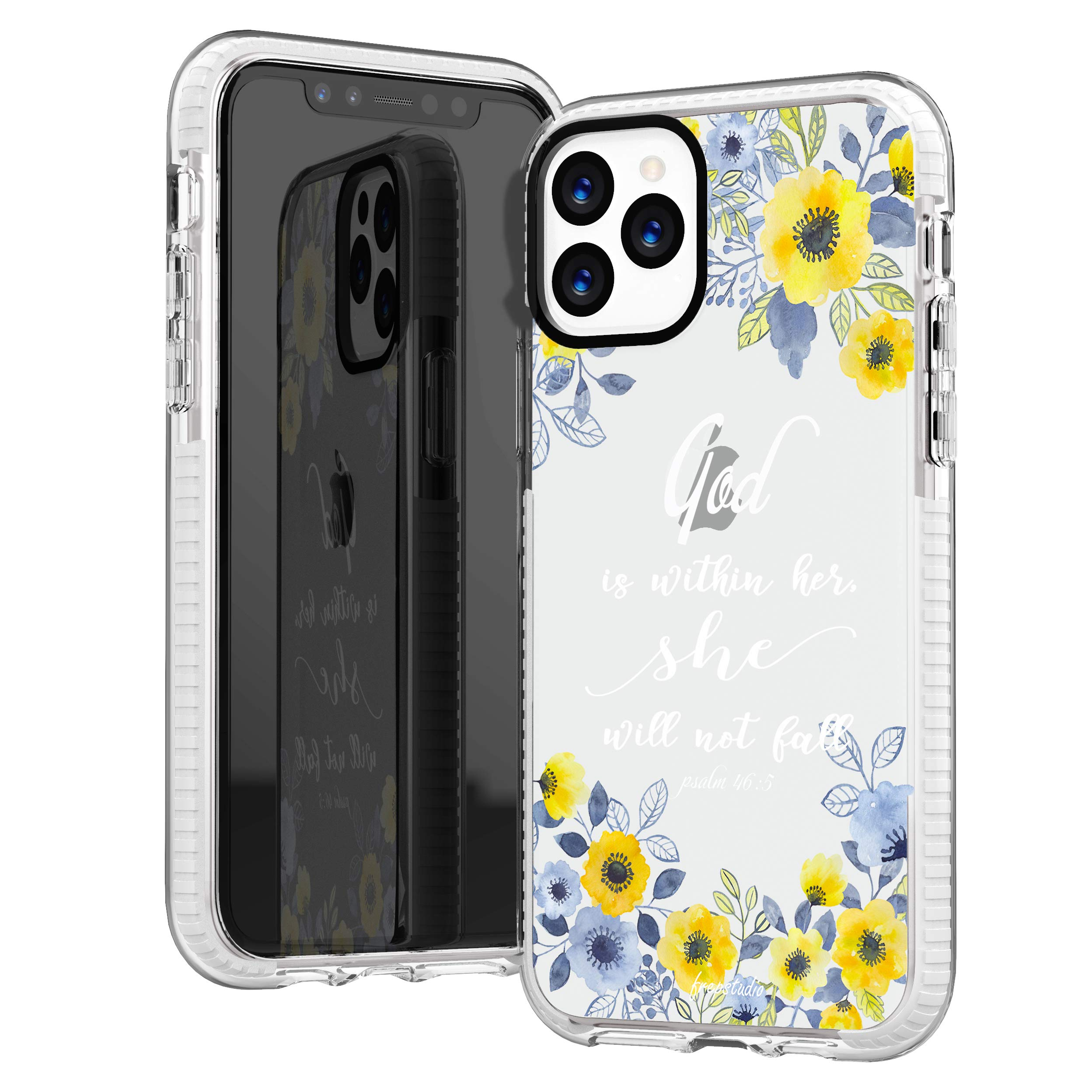 iPhone 11 Pro Max Case,Girls Women Flowers Florals Blooms Roses Christian God Within Her Psalm 46:5 Bible Verses Quotes Inspirational Cute Soft Protective Clear Case Compatible for iPhone 11 Pro Max