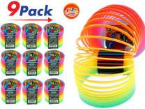 JA-RU Big Spring Rainbow Ring Magic Set (9 Units) Stress Toy Slinkey Original Toys for Kids Girls and Boys Springs Great Party Favor | Plus 1 Bouncy Ball Item #1702-9p