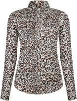 DOKKIA Women's Tops Vintage Casual Shirts Cotton Long Sleeve Work Button Up Dress Blouses (Leopard Print Black Brown, XX-Large)