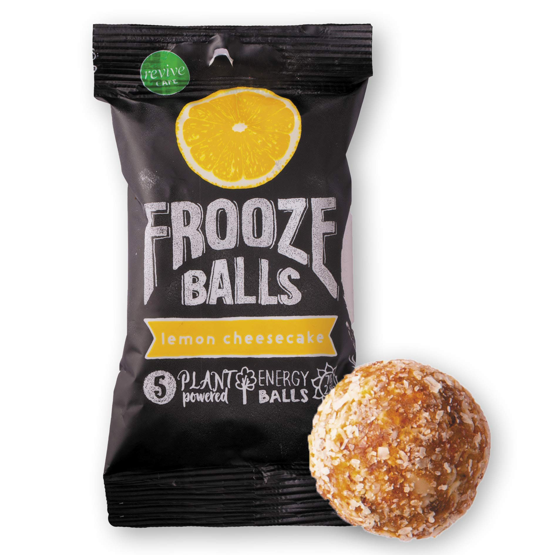 Frooze Balls Plant Protein Powered Fruit & Nut Energy Balls, Lemon Cheesecake (Pack of 8) Each Pack Has 5 Balls!