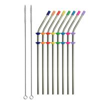 RAINIER Set of 8 Reusable Stainless Steel Metal Drinking Straws With Silicone Tips, Silencers, 2 Cleaning Brushes | Fits Yeti RTIC Tervis 20 oz Tumbler| Extra Long Angled 9 Inch Eco Friendly
