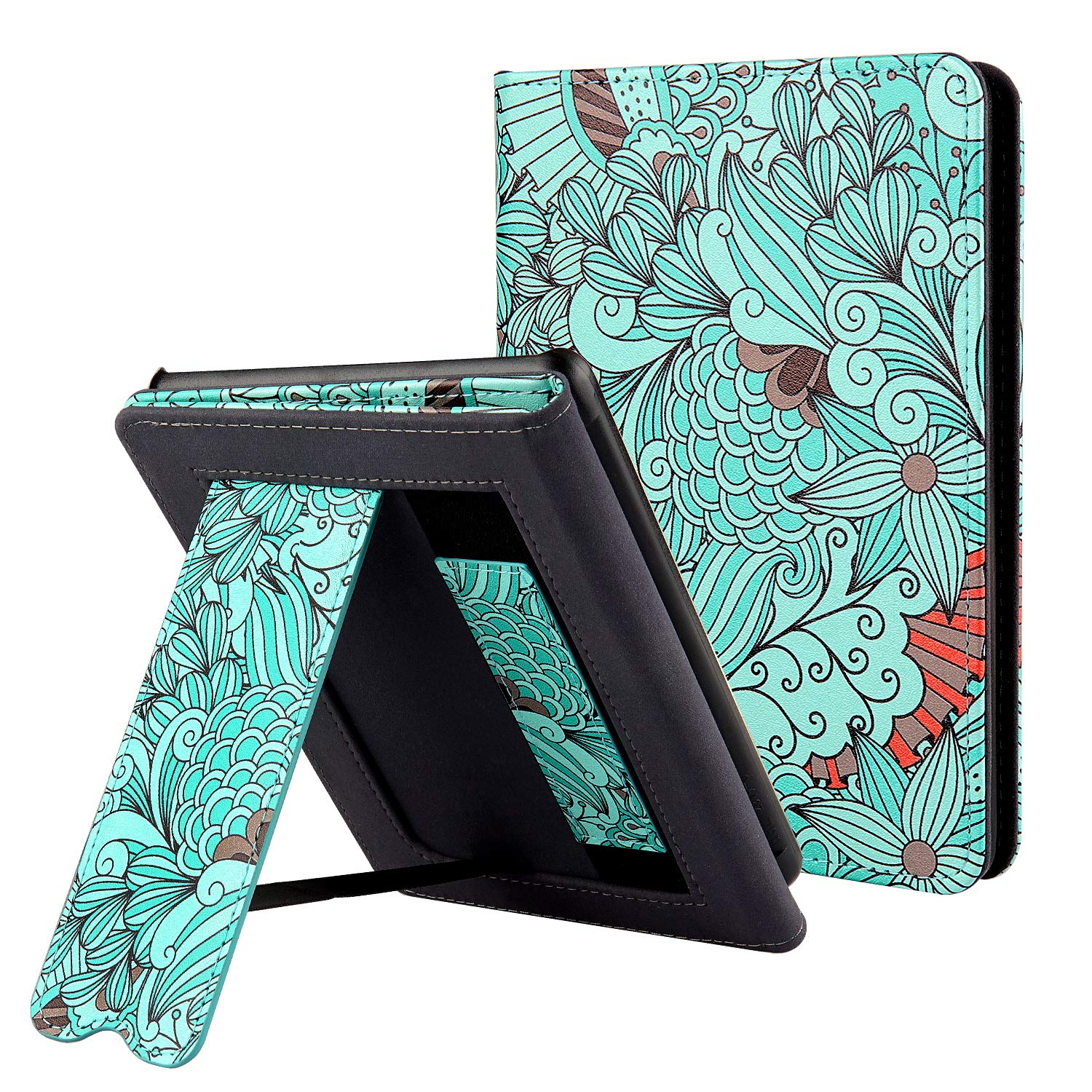 CoBak Kindle Paperwhite Case with Stand - Durable PU Leather Smart Cover with Auto Sleep Wake, Hand Strap Feature, ONLY Fits All New Kindle Paperwhite 10th Generation 2018 Released,Floral