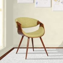 Armen Living Butterfly Dining Chair in Green Fabric and Walnut Wood Finish