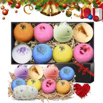 N-LIfe Bath Bombs Ideal Gifts Set for Her 8 Lush Fizzies Handmade Essential Oils Spa Organic and Natural Scent with Free Petals bathing Cap For Relaxation Party Christmas Valentine's Day Birthday