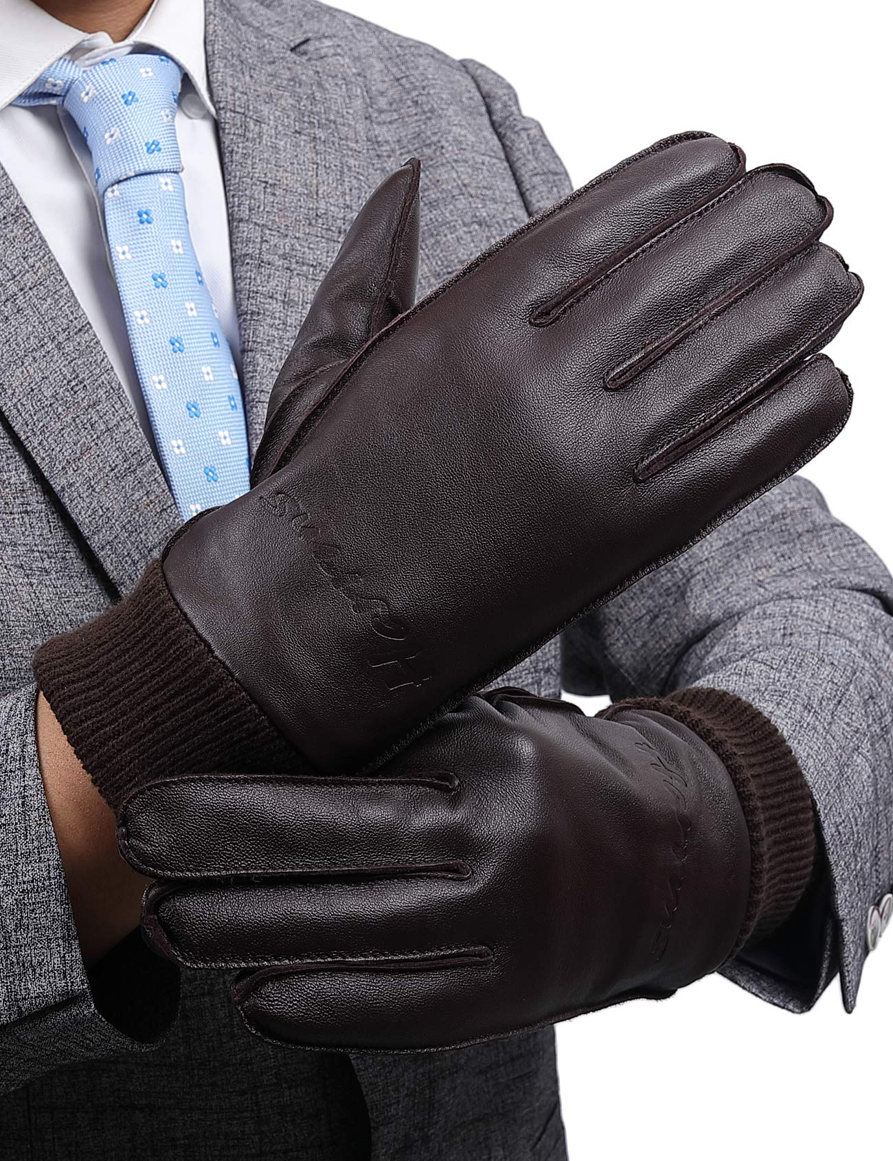 Leather Gloves for Men, with 3M Thinsulate Full-Hand Touchscreen Driving Cold Weather Gloves