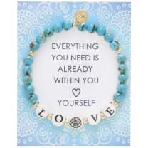 BONALUNA My Wish Love Mantra 6mm Blue Turquoise Color Stone Meditation & Healing Bracelets for Women