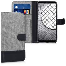 kwmobile Wallet Case Compatible with Xiaomi Redmi 5 Plus/Redmi Note 5 (China) - Fabric Faux Leather Cover with Card Slots, Stand - Grey/Black