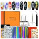 Modelones Flame Nail Decals Stickers Full Kit with Base and Top Coat Set(2 X 10 ml)- 20PCS Holographic Fire Flame Nail Art Decals 3D Nail Stencil for Nails High Gloss Shiny Effects