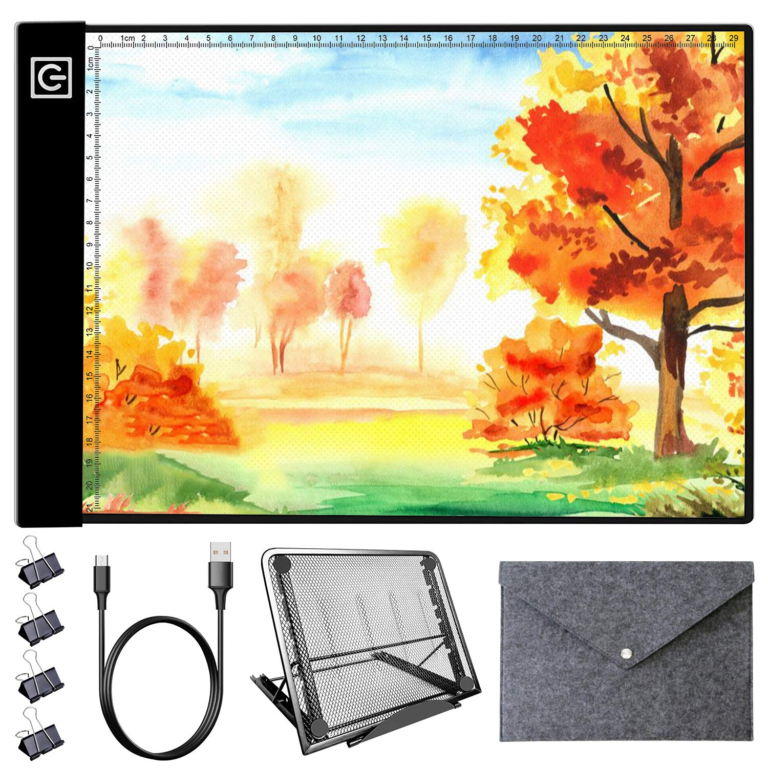 LED Light Pad Kit - A4 Diamond Painting Light Box Dimmable Tracing Light Board, Sketching, Animation, Drawing Light Box with 4 Fasten Clips, Metal Stand and Felt Bag