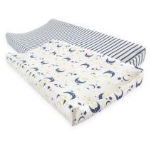 Touched by Nature Unisex Baby Organic Cotton Changing Pad Cover, Moon, One Size