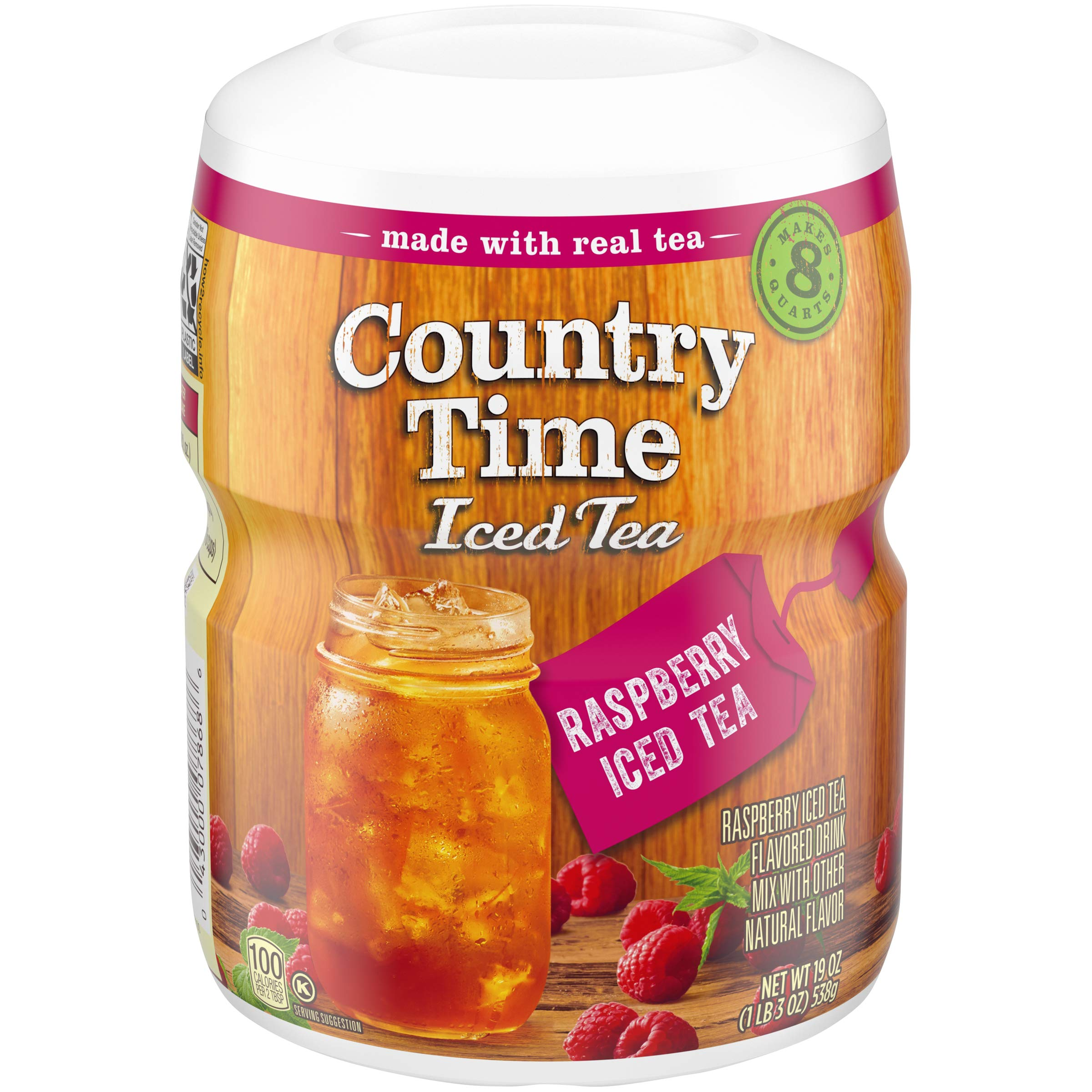 Country Time Sugar-Sweetened Raspberry Tea Drink Mix (19 oz Canisters, Pack of 12)