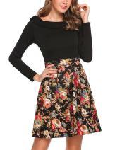 ACEVOG Women's Floral Patchwork Scoop Neck Long Sleeve Vintage Swing Dresses