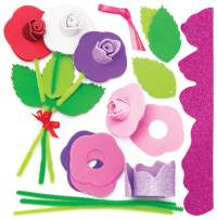 Baker Ross Rose Bouquet Kits (Pack of 4) for Kids to Make and Gift for Mother's Day / Valentine's Day