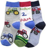 Jefferies Socks Little Boys' Born 2 Farm Triple Treat  (Pack of 3)