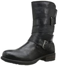 Rampage Women's Islet Motorcycle Buckle Mid Calf Low heel Boot