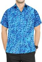LA LEELA Men's Camp Hawaiian Shirt Beach Aloha Party Casual Holiday Solid Plain