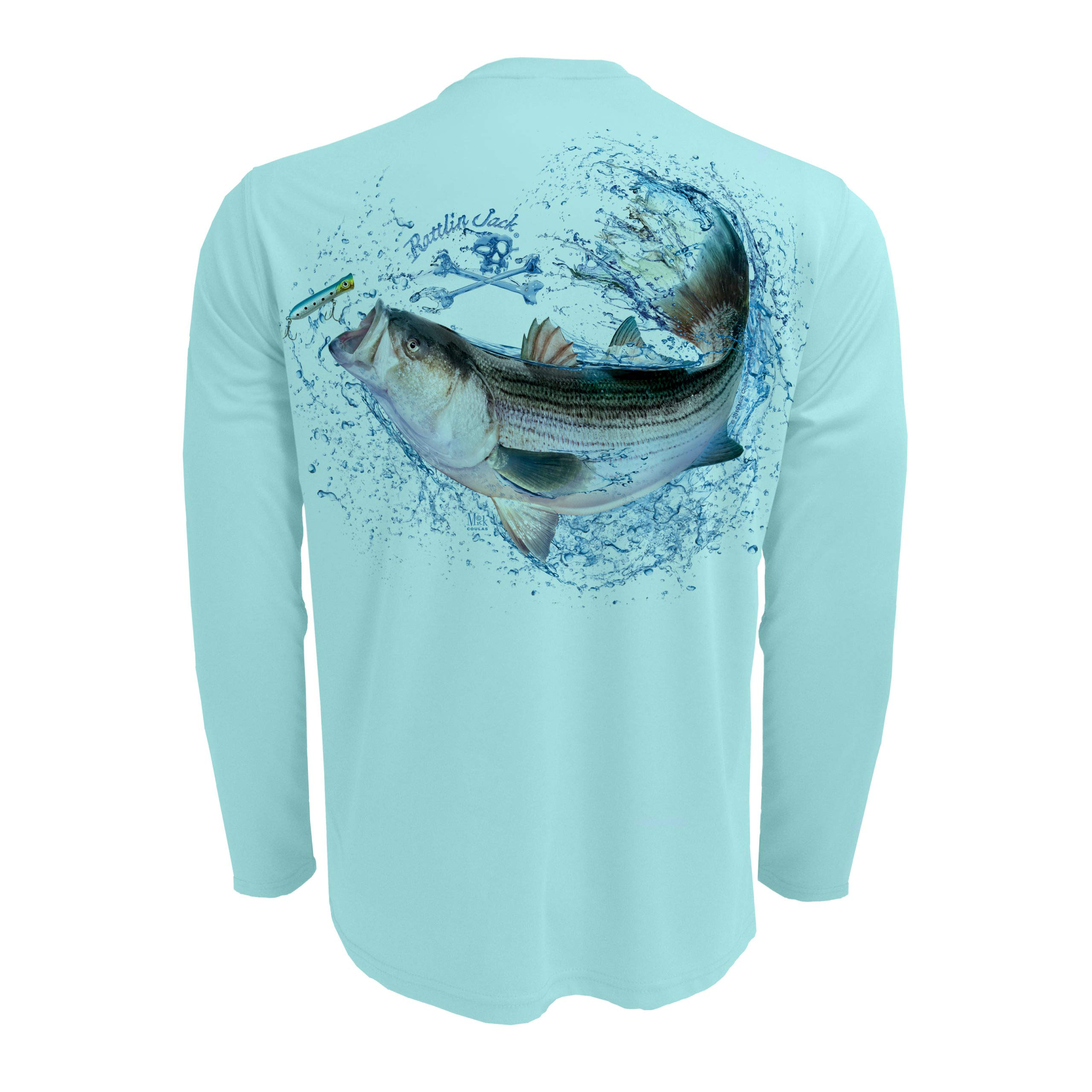 Rattlin Jack Men's UPF 50 Long Sleeve Fishing Shirt Striped Bass