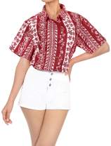 LA LEELA Women's Beach Hawaiian Shirt Short Sleeves Button Down Collar Aloha