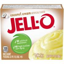 JELL-O Instant Pudding & Pie Filling Mix, Coconut Cream, 6 Count, 20.4 Ounce