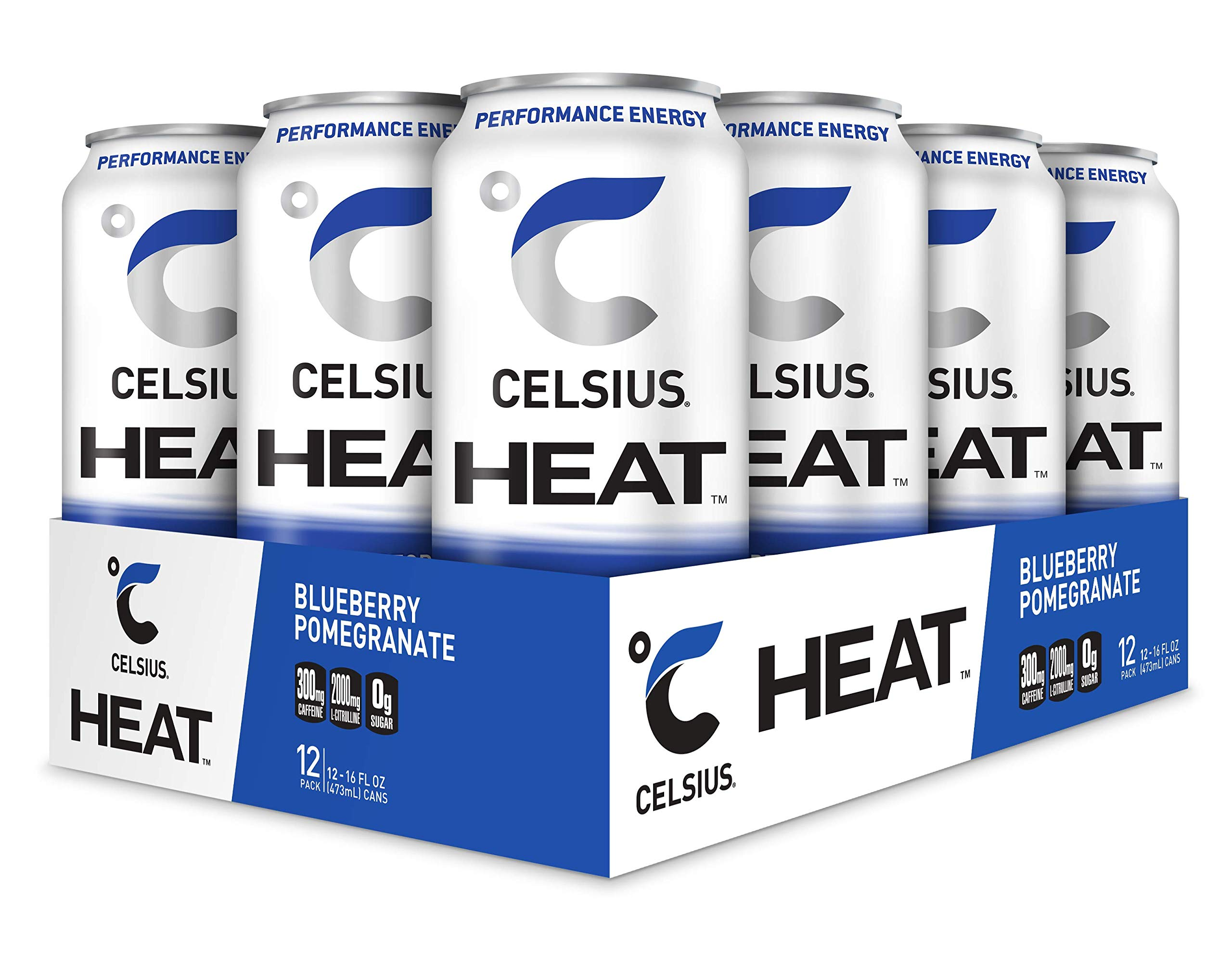 CELSIUS HEAT Blueberry Pomegranate Performance Energy Drink, Zero Sugar, 16oz. Can, 12 Pack