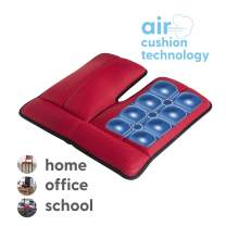Dr. air Seat Cushion, Non-Slip Orthopedic Support Cushion, Back, Sciatica, Coccyx and Tailbone Pain, Home, Office, School, Car (Red)