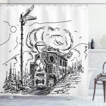 """Ambesonne Steam Engine Shower Curtain, Black and White Old Train on Railroad Sketch Effect Vintage Traveling Print, Cloth Fabric Bathroom Decor Set with Hooks, 75"""" Long, White Black"""