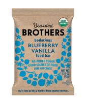 Bearded Brothers Vegan Organic Food Bar | Gluten Free, Paleo and Whole 30 | Soy Free, Non GMO, Low Glycemic, No Sugar Added, Packed with Protein, Fiber + Whole Foods | Blueberry Vanilla | 12 Pack