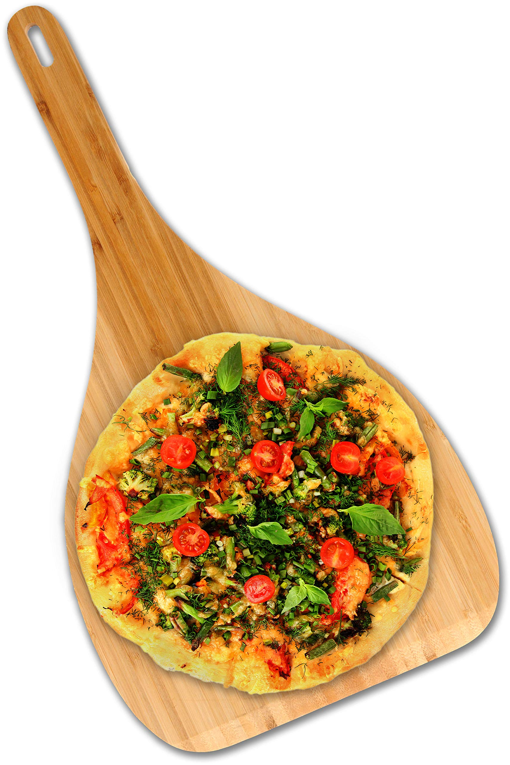 Pizza Peel and Pizza Paddle: Organic Bamboo Pizza Spatula. Unique Euro-design Pizza Cutting Board. This Gorgeous Wood Pizza Paddle for Oven or Grill Makes an Ideal Gift and Serving Board.