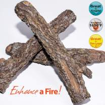 Bark Burncrete Twigs for Gas Fireplaces & Gas Fire Pits (3 Pieces) - Battlefield - 9 to 11 inch Length, 1.5 to 2 inch Diameter
