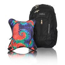 Bern Diaper Backpack, Shoulder Baby Bag, With Food Cooler, Clip to Stroller (Black/Tie Dye)