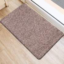 "BEAU JARDIN Indoor Doormat Absorbent Mats 28""x18"" Latex Backing Non Slip Door Mat for Small Front Inside Floor Mud Dirt Trapper Cotton Entrance Rug Shoes Scraper Machine Washable Carpet Brownish Tan"