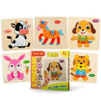 Smart Kids Service - Wooden Puzzles for Toddlers - 5 Pack - Kids Puzzles Age 3+ Toddlers Puzzles for Kids Boys and Girls - Pets Set - Cat - Dog - Horse - Rabbit - Cow - 48 pcs.