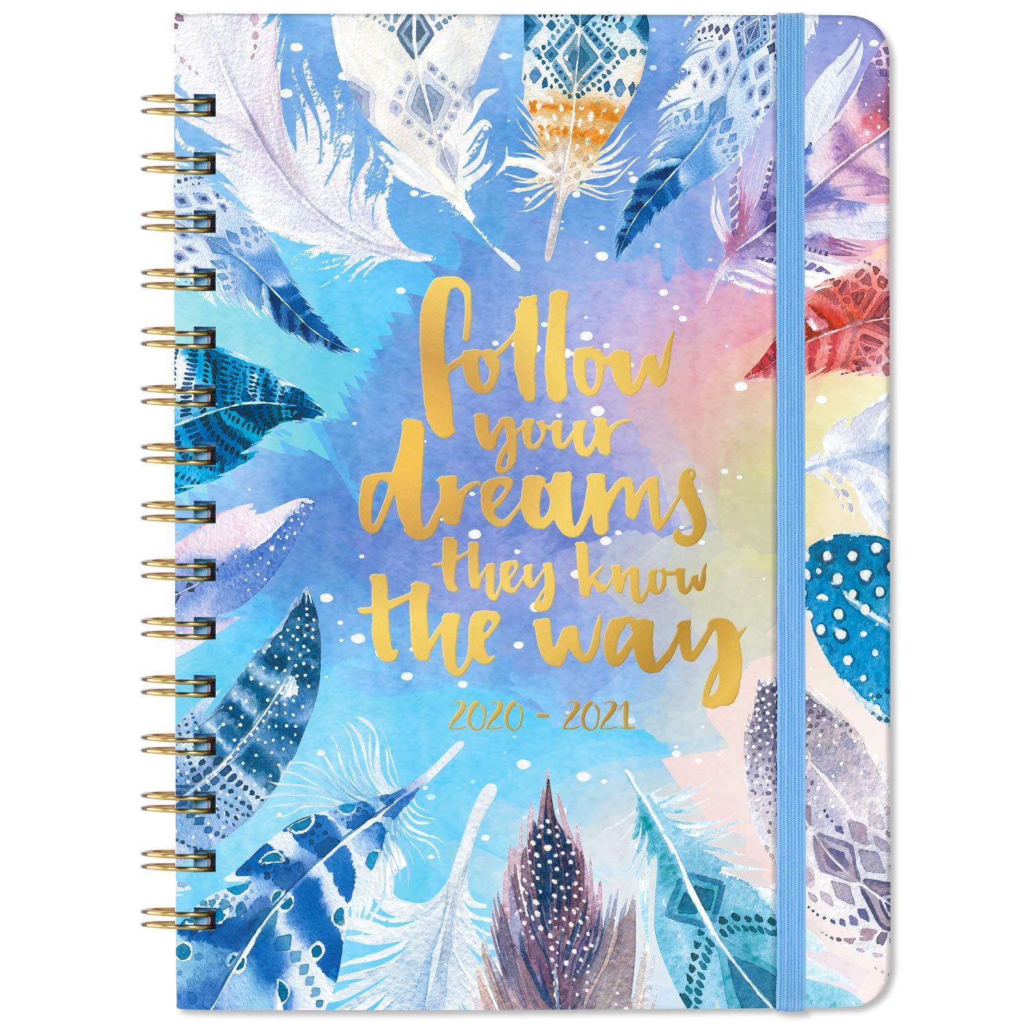 """2020-2021 Planner - Acdemic Weekly & Monthly Planner with Tabs, 6.3"""" x 8.4"""", Hardcover with Back Pocket + Thick Paper + Banded + Twin-Wire Binding + Inspirational Quotes - Watercolor Feathers"""