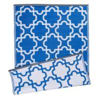 DII Moroccan Indoor/Outdoor Lightweight, Reversible, & Fade Resistant Area Rug, Use For Patio, Deck, Garage, Picnic, Beach, Camping, BBQ, Or Everyday Use - 4 x 6', Blue Lattice