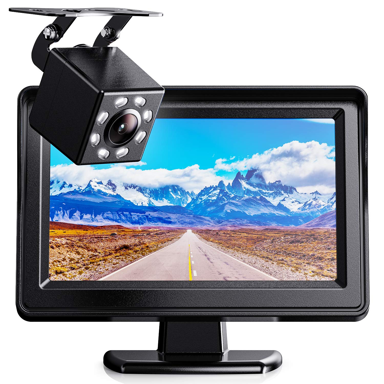 """Xroose Vehicle Backup Cameras Kits 4.3"""" HD Monitor + Wired Back Up Cam for Rearview Reversing Cars/Sedans/Truck, 12-24V"""