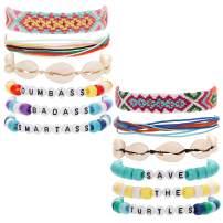 CASSIECA 12 Pcs VSCO Friendship Bracelets for women Natural Shell Waterproof Handmade Rope Bead Bracelet Set Adjustable Summer Ponybead Words Wrap Strand Bracelets Encourage for Friends