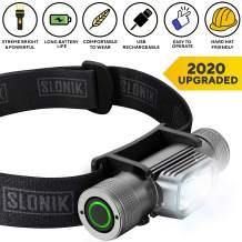 SLONIK Rechargeable Headlamp for Adults 1000 Lumens Super Bright 600 ft Beam LED Headlamp 2200mAh Battery – Lightweight, Heavy-Duty, IPX8 Waterproof Hard Hat Light – Camping, Running Headlight (Black)